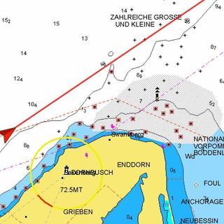 Fast am Ziel - Seekarte vor dem Dornbusch