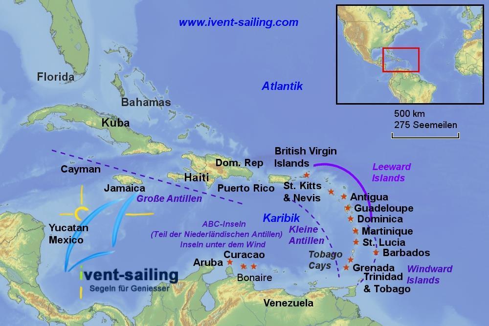 Karibik Karte Deutsch.Segeltörn Karibik